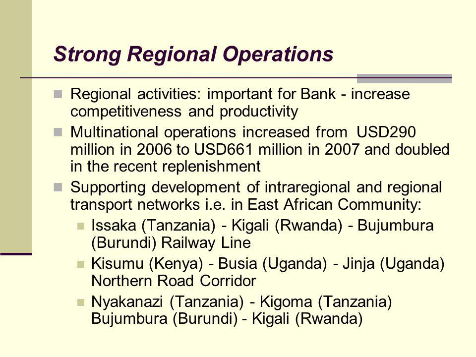 Strong Regional Operations Regional activities: important for Bank - increase competitiveness and productivity Multinational operations increased from