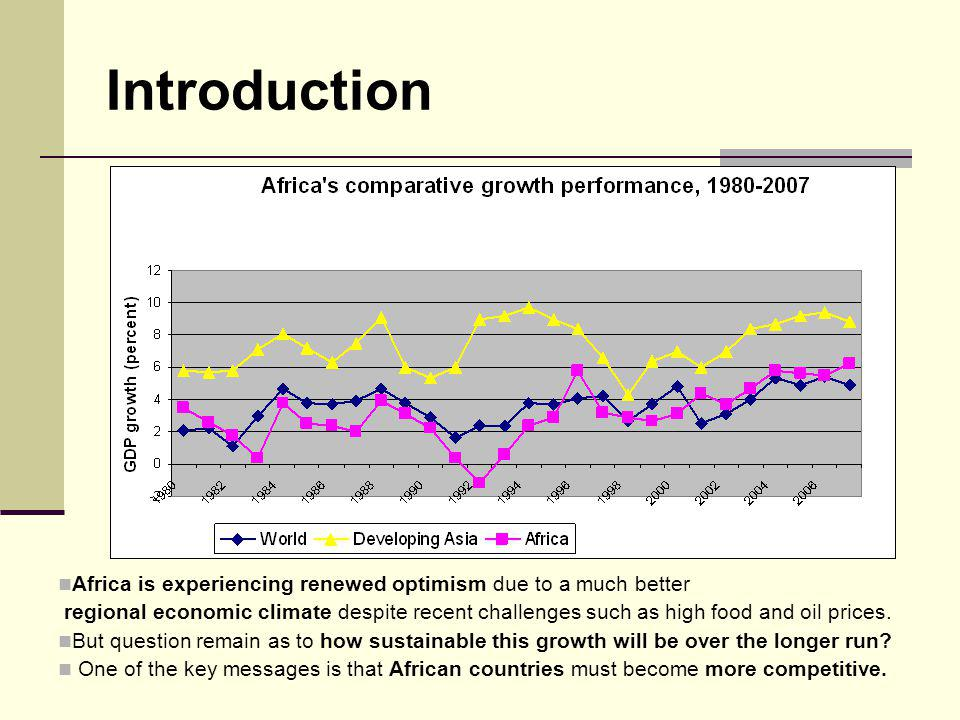 Introduction Africa is experiencing renewed optimism due to a much better regional economic climate despite recent challenges such as high food and oi