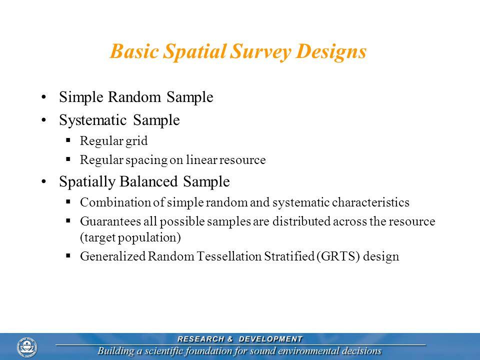 Basic Spatial Survey Designs Simple Random Sample Systematic Sample Regular grid Regular spacing on linear resource Spatially Balanced Sample Combinat