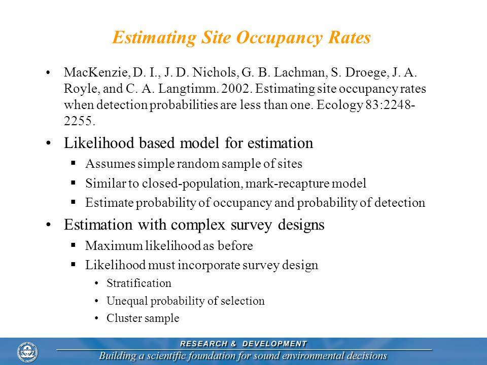 Estimating Site Occupancy Rates MacKenzie, D. I., J. D. Nichols, G. B. Lachman, S. Droege, J. A. Royle, and C. A. Langtimm. 2002. Estimating site occu