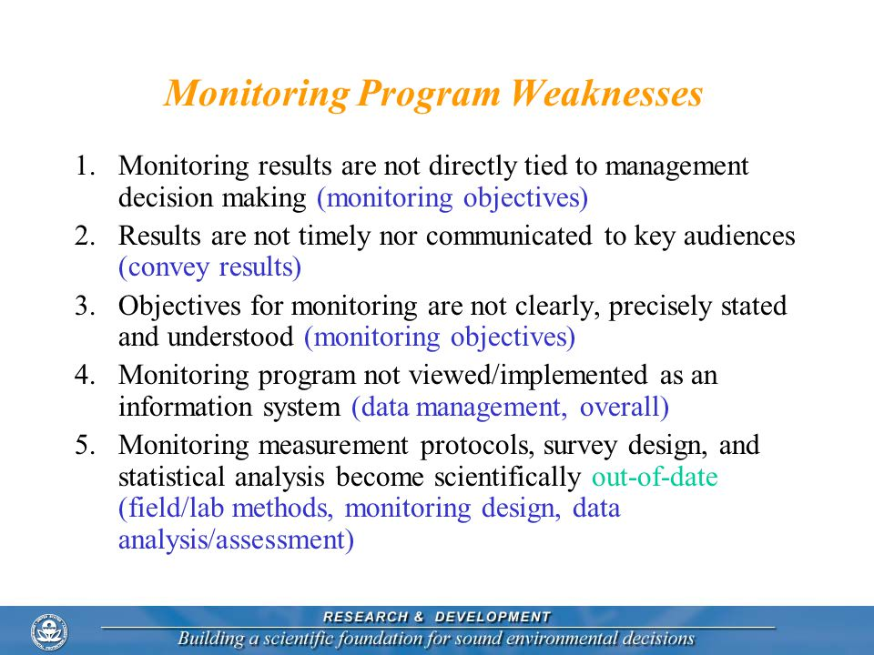 Monitoring Program Weaknesses 1.Monitoring results are not directly tied to management decision making (monitoring objectives) 2.Results are not timel