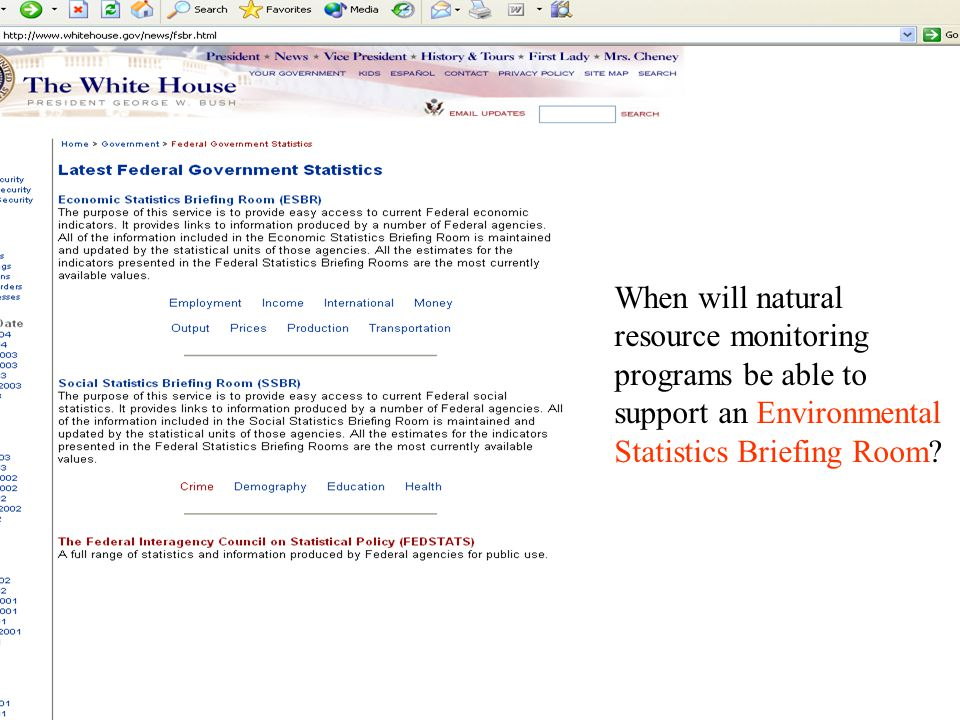 When will natural resource monitoring programs be able to support an Environmental Statistics Briefing Room?
