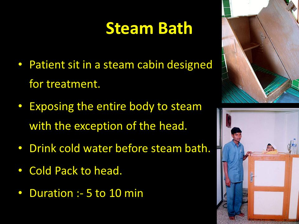 Steam Bath Patient sit in a steam cabin designed for treatment.