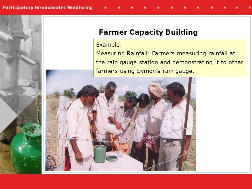 Participatory Groundwater Monitoring Example: Measuring Rainfall: Farmers measuring rainfall at the rain gauge station and demonstrating it to other farmers using Symons rain gauge.