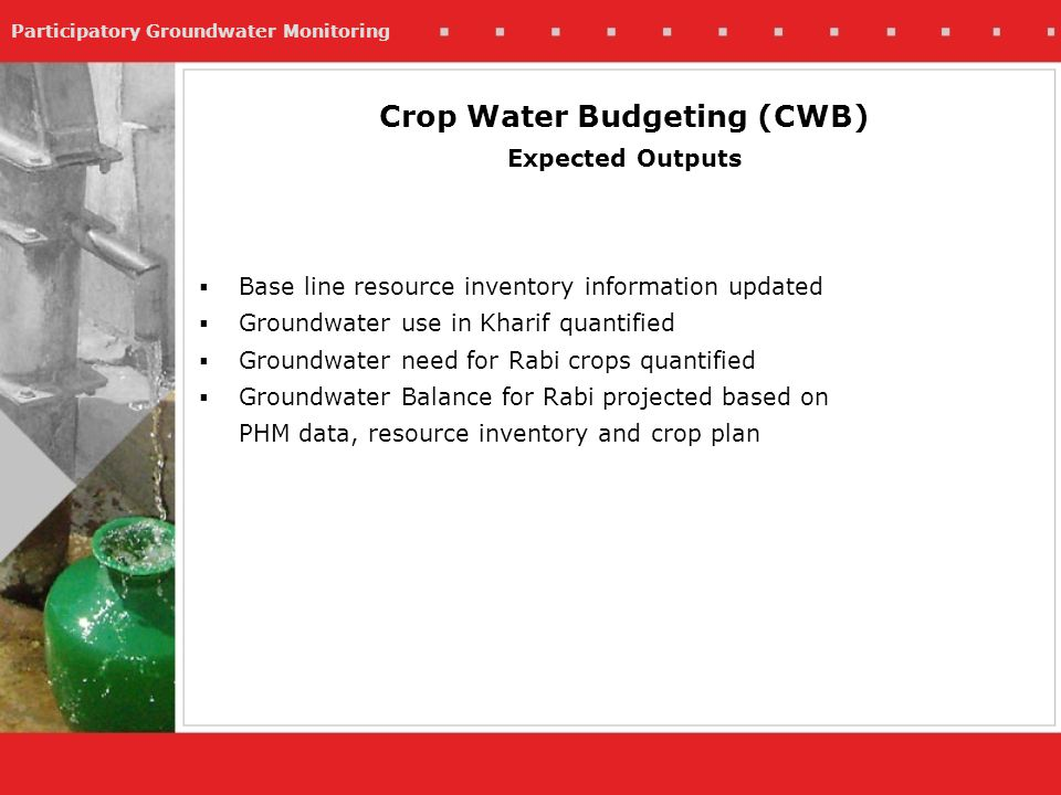 Participatory Groundwater Monitoring Base line resource inventory information updated Groundwater use in Kharif quantified Groundwater need for Rabi crops quantified Groundwater Balance for Rabi projected based on PHM data, resource inventory and crop plan Crop Water Budgeting (CWB) Expected Outputs