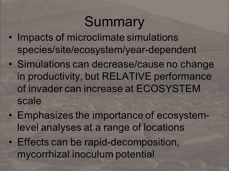 Summary Impacts of microclimate simulations species/site/ecosystem/year-dependent Simulations can decrease/cause no change in productivity, but RELATI