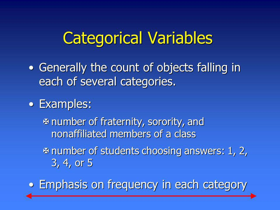 Categorical Variables Generally the count of objects falling in each of several categories.Generally the count of objects falling in each of several c