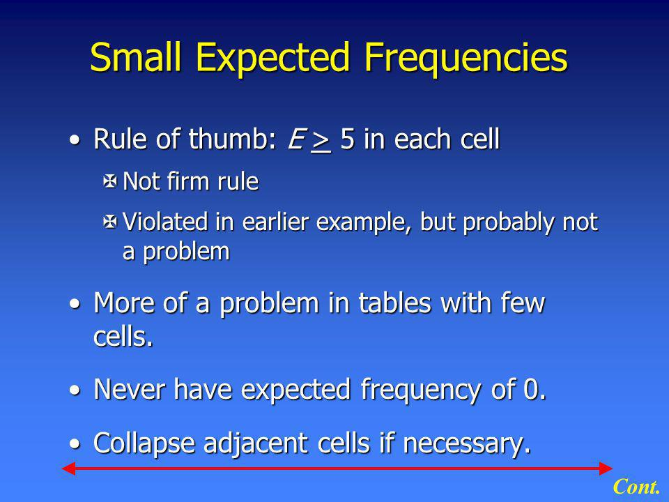 Small Expected Frequencies Rule of thumb: E > 5 in each cellRule of thumb: E > 5 in each cell XNot firm rule XViolated in earlier example, but probabl