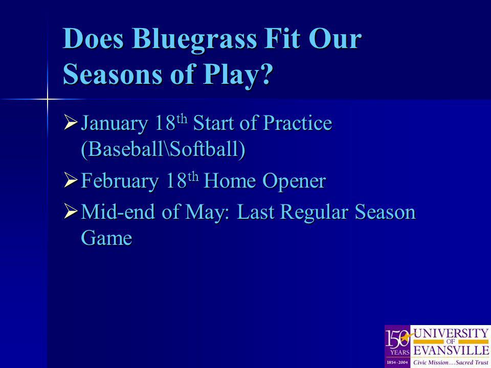Does Bluegrass Fit Our Seasons of Play? January 18 th Start of Practice (Baseball\Softball) January 18 th Start of Practice (Baseball\Softball) Februa