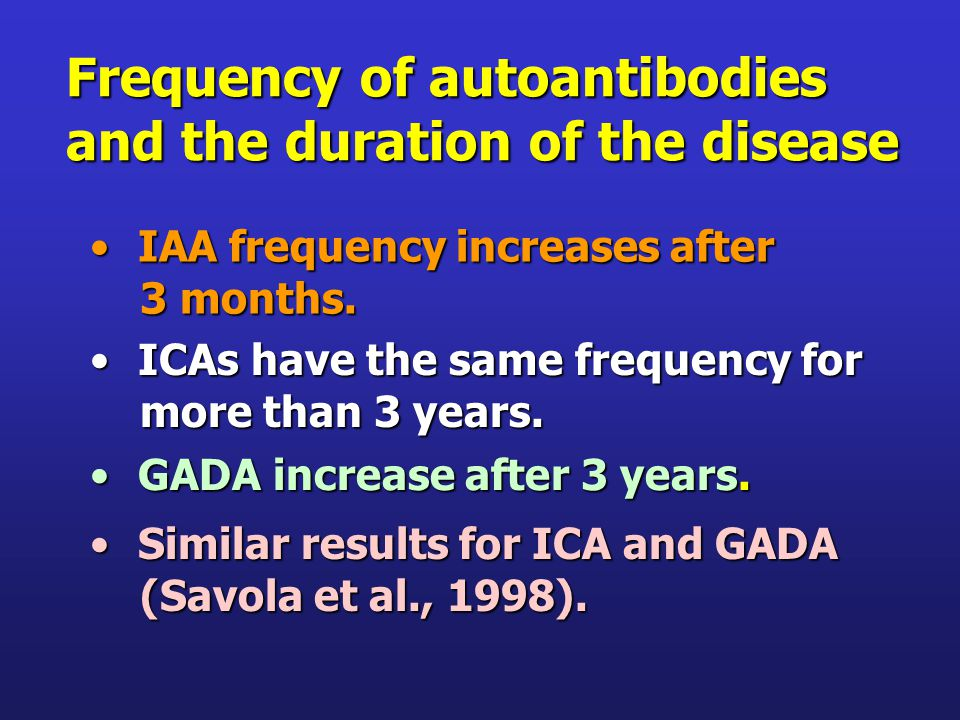 Frequency of autoantibodies and the duration of the disease IAA frequency increases afterIAA frequency increases after 3 months.