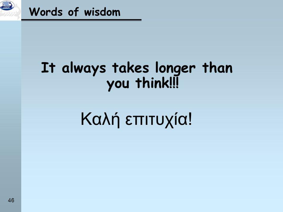 46 Words of wisdom It always takes longer than you think!!! Καλή επιτυχία!