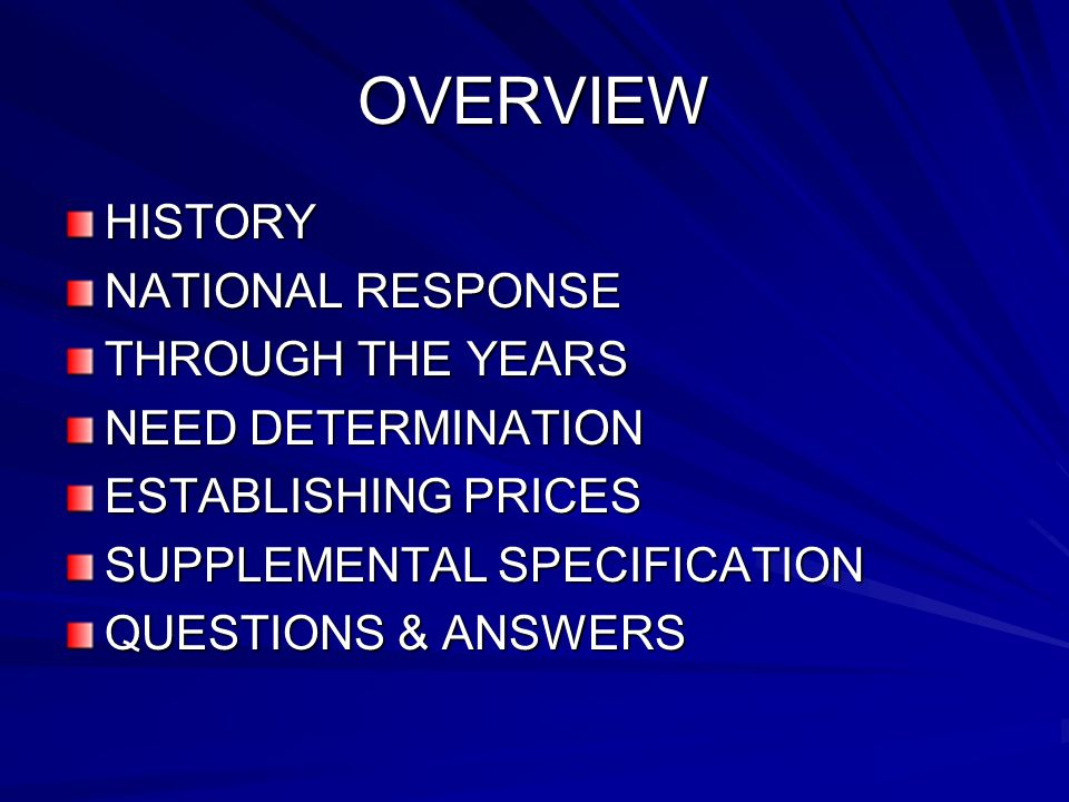 OVERVIEW HISTORY NATIONAL RESPONSE THROUGH THE YEARS NEED DETERMINATION ESTABLISHING PRICES SUPPLEMENTAL SPECIFICATION QUESTIONS & ANSWERS