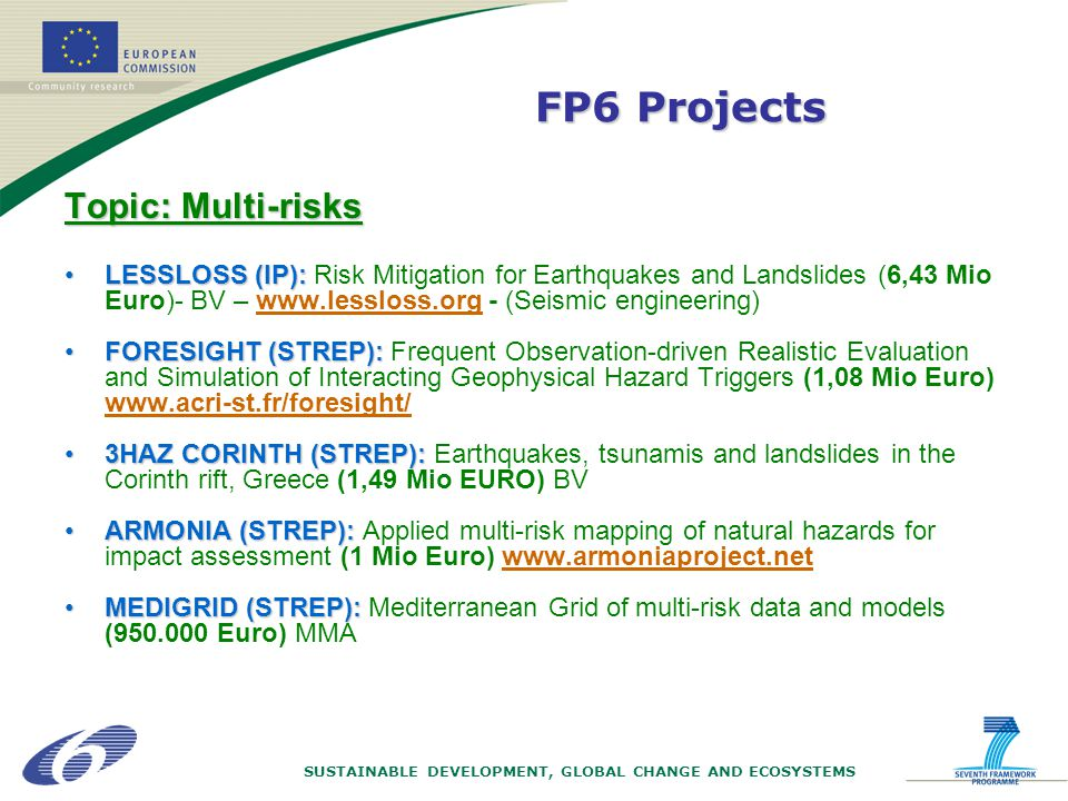 SUSTAINABLE DEVELOPMENT, GLOBAL CHANGE AND ECOSYSTEMS Topic: Multi-risks LESSLOSS (IP):LESSLOSS (IP): Risk Mitigation for Earthquakes and Landslides (6,43 Mio Euro)- BV – www.lessloss.org - (Seismic engineering) FORESIGHT (STREP):FORESIGHT (STREP): Frequent Observation-driven Realistic Evaluation and Simulation of Interacting Geophysical Hazard Triggers (1,08 Mio Euro) www.acri-st.fr/foresight/ 3HAZ CORINTH (STREP):3HAZ CORINTH (STREP): Earthquakes, tsunamis and landslides in the Corinth rift, Greece (1,49 Mio EURO) BV ARMONIA (STREP):ARMONIA (STREP): Applied multi-risk mapping of natural hazards for impact assessment (1 Mio Euro) www.armoniaproject.net MEDIGRID (STREP):MEDIGRID (STREP): Mediterranean Grid of multi-risk data and models (950.000 Euro) MMA FP6 Projects