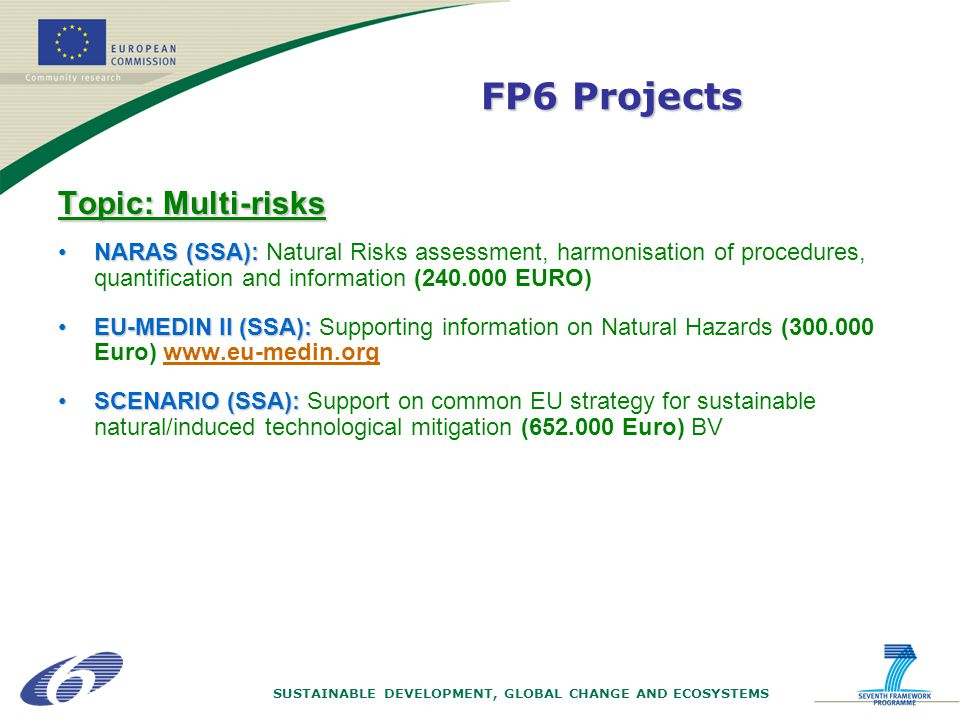 SUSTAINABLE DEVELOPMENT, GLOBAL CHANGE AND ECOSYSTEMS Topic: Multi-risks NARAS (SSA):NARAS (SSA): Natural Risks assessment, harmonisation of procedures, quantification and information (240.000 EURO) EU-MEDIN II (SSA):EU-MEDIN II (SSA): Supporting information on Natural Hazards (300.000 Euro) www.eu-medin.org SCENARIO (SSA):SCENARIO (SSA): Support on common EU strategy for sustainable natural/induced technological mitigation (652.000 Euro) BV FP6 Projects