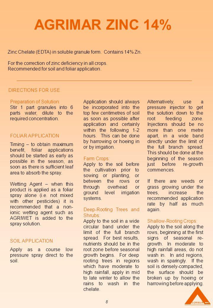 AGRIMAR ZINC 14% Zinc Chelate (EDTA) in soluble granule form.