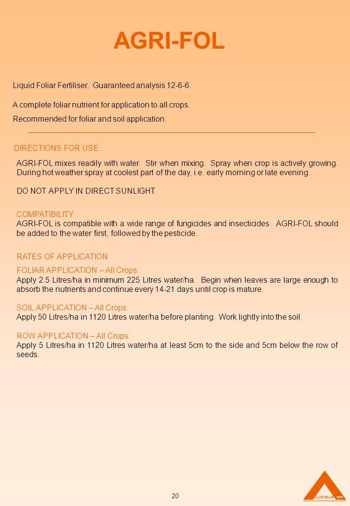 AGRI-FOL Liquid Foliar Fertiliser. Guaranteed analysis 12-6-6.