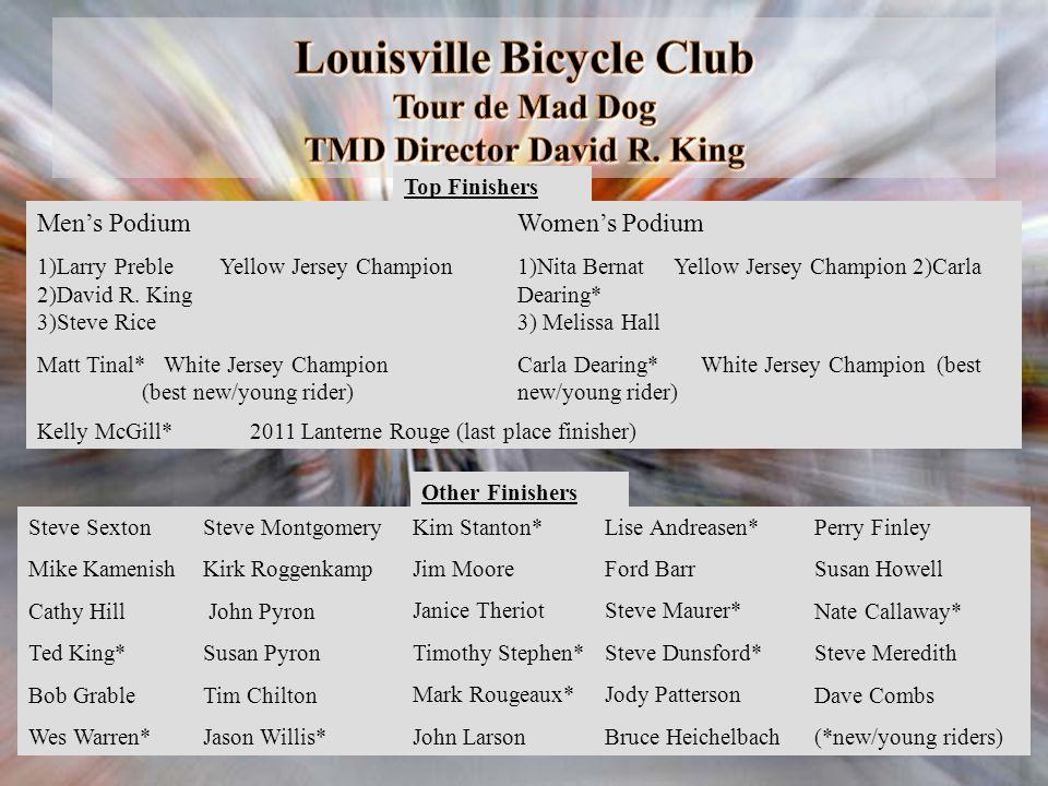 Louisville Bicycle Club Tour de Mad Dog TMD Director David R. King Mens Podium 1)Larry Preble Yellow Jersey Champion 2)David R. King 3)Steve Rice Matt