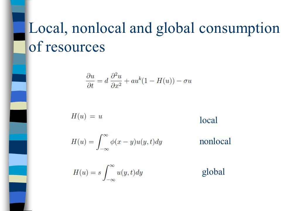 Local, nonlocal and global consumption of resources local nonlocal global