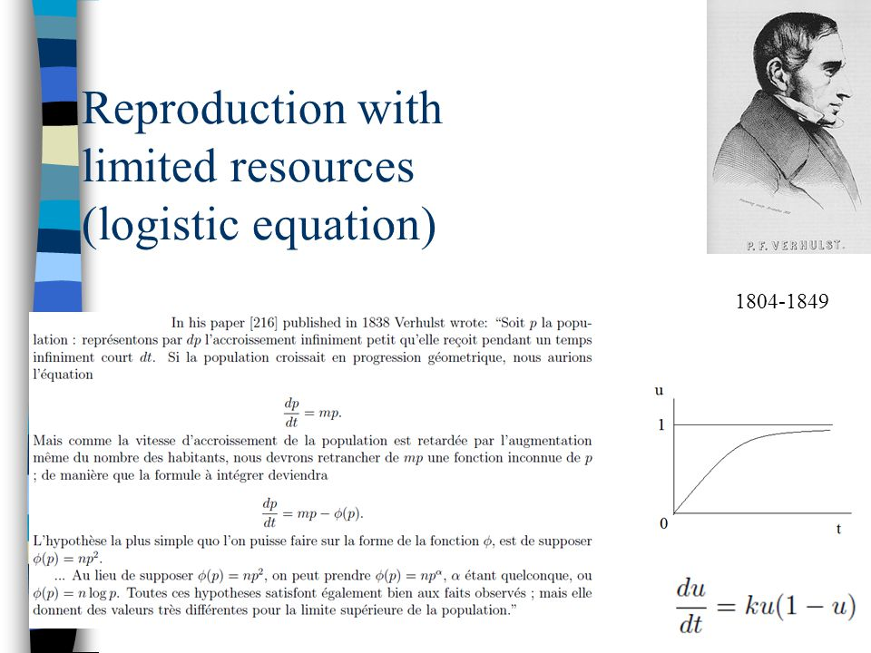 Reproduction with limited resources (logistic equation) 1804-1849