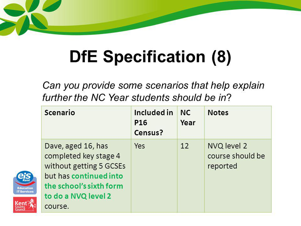 DfE Specification (8) Can you provide some scenarios that help explain further the NC Year students should be in? ScenarioIncluded in P16 Census? NC Y