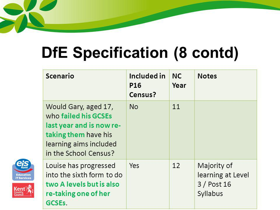 DfE Specification (8 contd) ScenarioIncluded in P16 Census? NC Year Notes Would Gary, aged 17, who failed his GCSEs last year and is now re- taking th