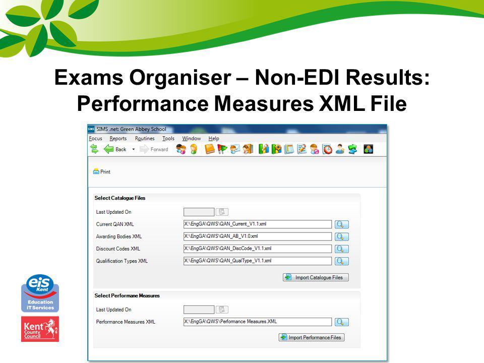 Exams Organiser – Non-EDI Results: Performance Measures XML File
