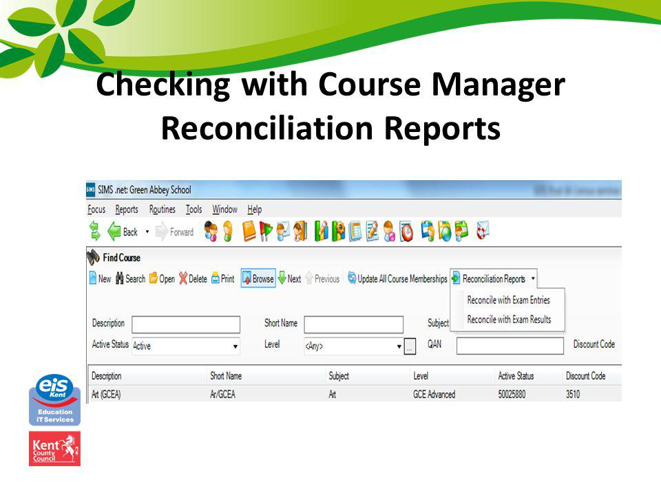 Checking with Course Manager Reconciliation Reports
