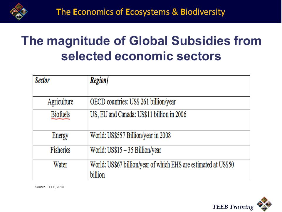 TEEB Training The magnitude of Global Subsidies from selected economic sectors Source: TEEB, 2010