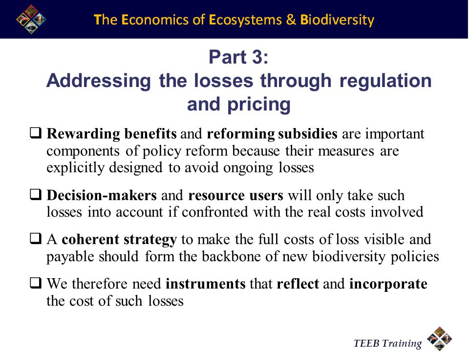 TEEB Training Part 3: Addressing the losses through regulation and pricing Rewarding benefits and reforming subsidies are important components of policy reform because their measures are explicitly designed to avoid ongoing losses Decision-makers and resource users will only take such losses into account if confronted with the real costs involved A coherent strategy to make the full costs of loss visible and payable should form the backbone of new biodiversity policies We therefore need instruments that reflect and incorporate the cost of such losses