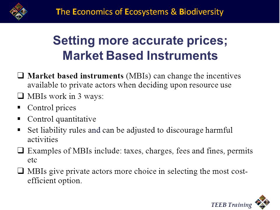 TEEB Training Setting more accurate prices; Market Based Instruments Market based instruments (MBIs) can change the incentives available to private actors when deciding upon resource use MBIs work in 3 ways: Control prices Control quantitative Set liability rules and can be adjusted to discourage harmful activities Examples of MBIs include: taxes, charges, fees and fines, permits etc MBIs give private actors more choice in selecting the most cost- efficient option.