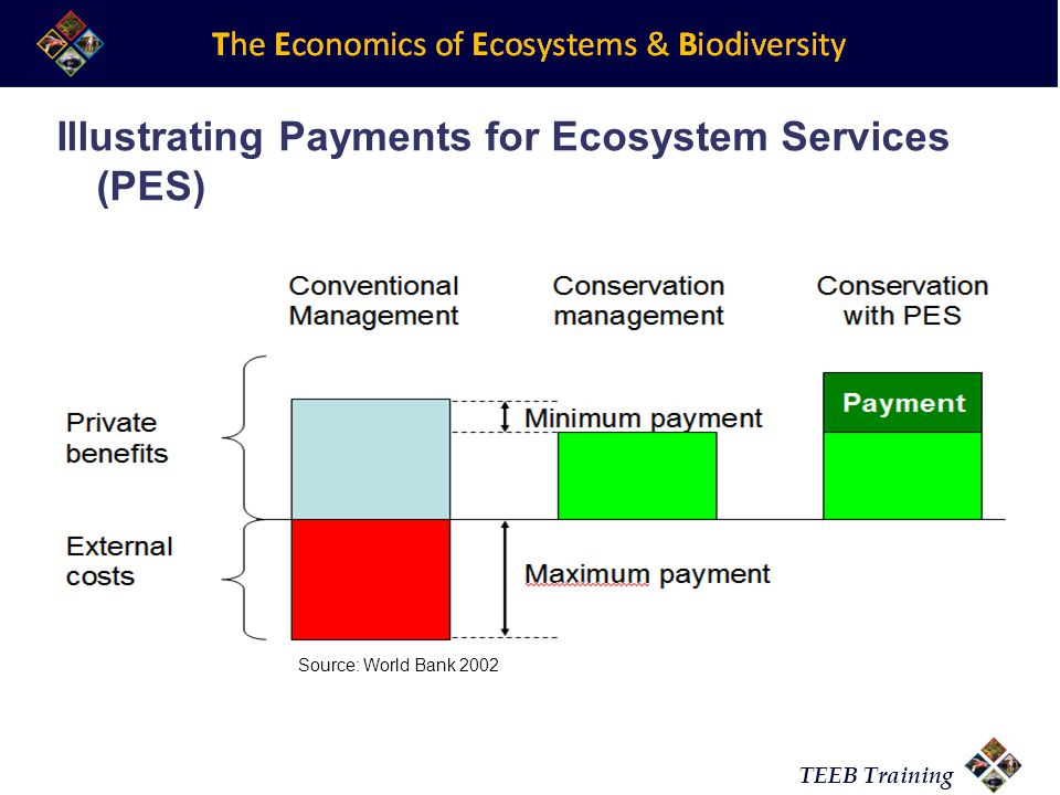 TEEB Training Source: World Bank 2002 Illustrating Payments for Ecosystem Services (PES)