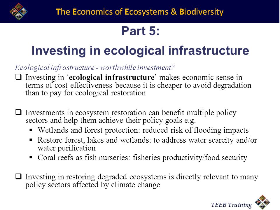 TEEB Training Part 5: Investing in ecological infrastructure Ecological infrastructure - worthwhile investment.
