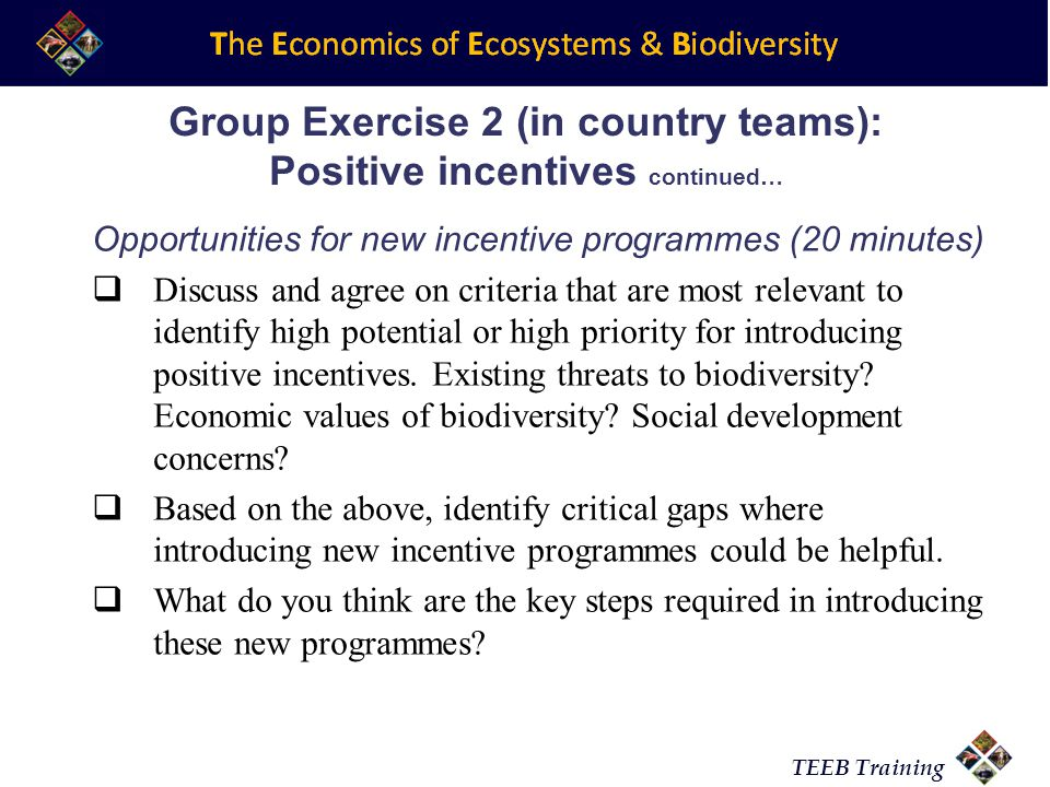 TEEB Training Group Exercise 2 (in country teams): Positive incentives continued… Opportunities for new incentive programmes (20 minutes) Discuss and agree on criteria that are most relevant to identify high potential or high priority for introducing positive incentives.