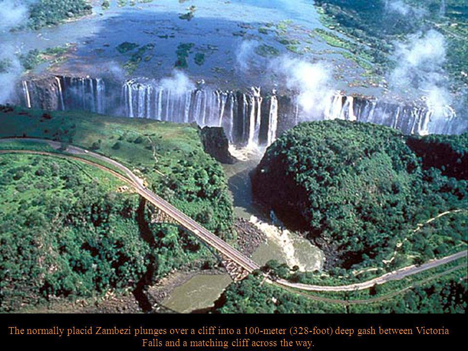 One of the world s mightiest waterfalls is in east-central Africa, on the border between Zambia and Zimbabwe (formerly Rhodesia).