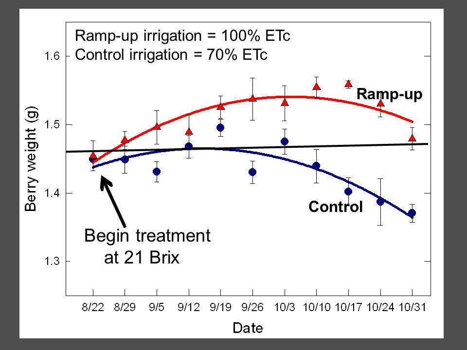 Ramp-up Begin ramp-up Control Ramp-up irrigation = 100% ETc Control irrigation = 70% ETc Begin treatment at 21 Brix