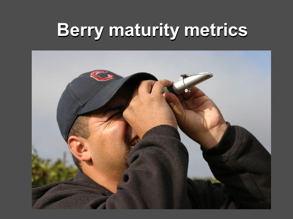 Berry maturity metrics