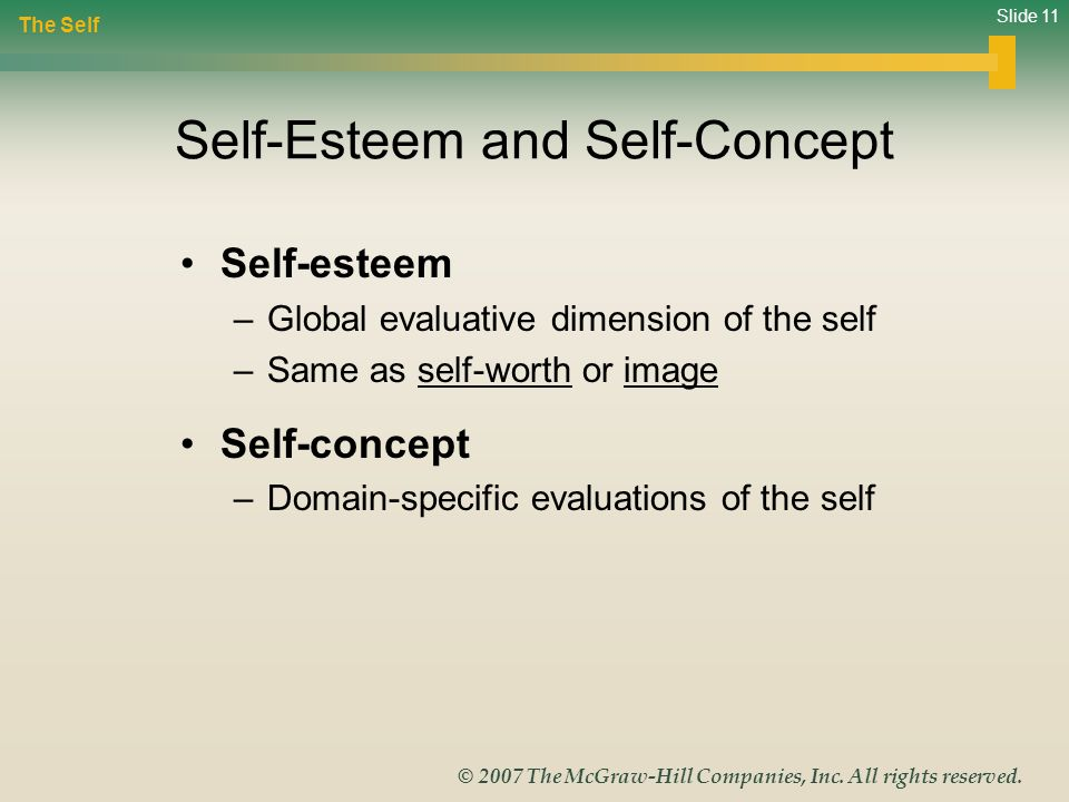 Slide 11 © 2007 The McGraw-Hill Companies, Inc. All rights reserved. Self-Esteem and Self-Concept Self-esteem –Global evaluative dimension of the self