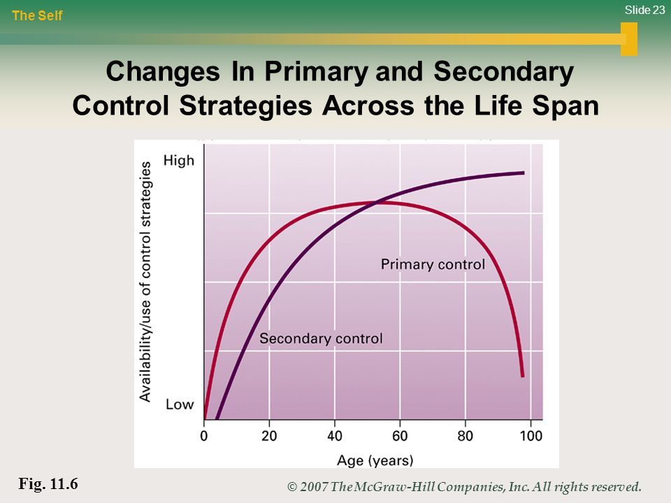 Slide 23 © 2007 The McGraw-Hill Companies, Inc. All rights reserved. Changes In Primary and Secondary Control Strategies Across the Life Span The Self