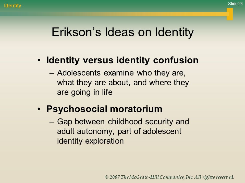Slide 24 © 2007 The McGraw-Hill Companies, Inc. All rights reserved. Eriksons Ideas on Identity Identity versus identity confusion –Adolescents examin