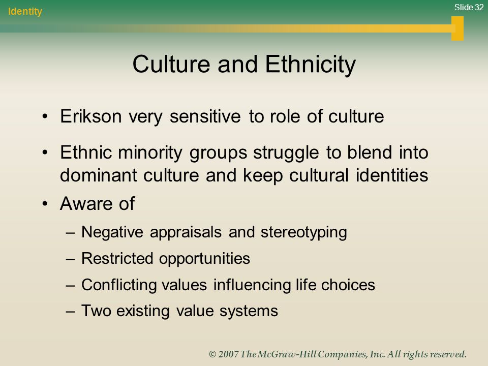 Slide 32 © 2007 The McGraw-Hill Companies, Inc. All rights reserved. Culture and Ethnicity Erikson very sensitive to role of culture Ethnic minority g
