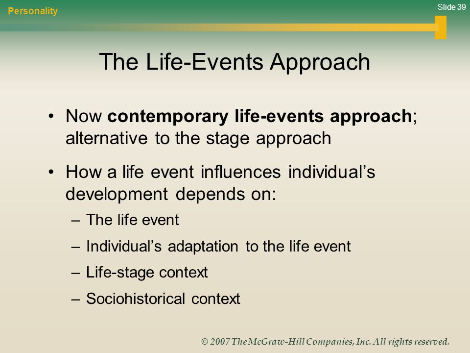 Slide 39 © 2007 The McGraw-Hill Companies, Inc. All rights reserved. The Life-Events Approach Now contemporary life-events approach; alternative to th