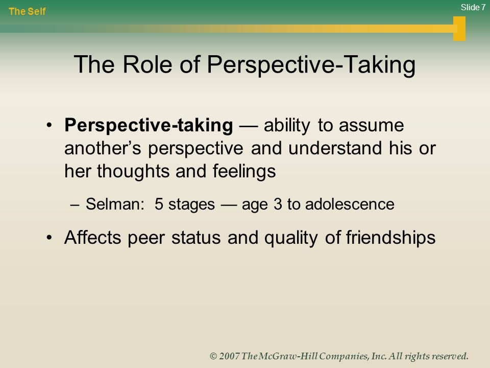 Slide 7 © 2007 The McGraw-Hill Companies, Inc. All rights reserved. The Role of Perspective-Taking Perspective-taking ability to assume anothers persp