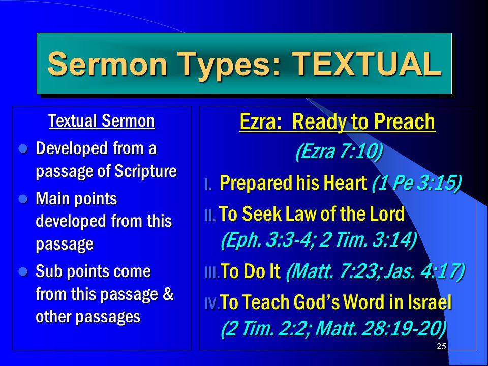 25 Sermon Types: TEXTUAL Textual Sermon Developed from a passage of Scripture Developed from a passage of Scripture Main points developed from this pa