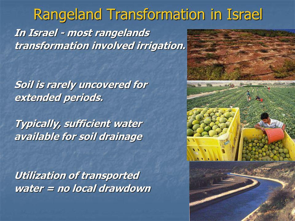 Rangeland Transformation in Israel In Israel - most rangelands transformation involved irrigation.