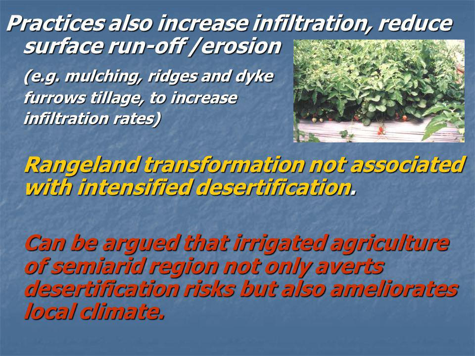 Practices also increase infiltration, reduce surface run-off /erosion (e.g.