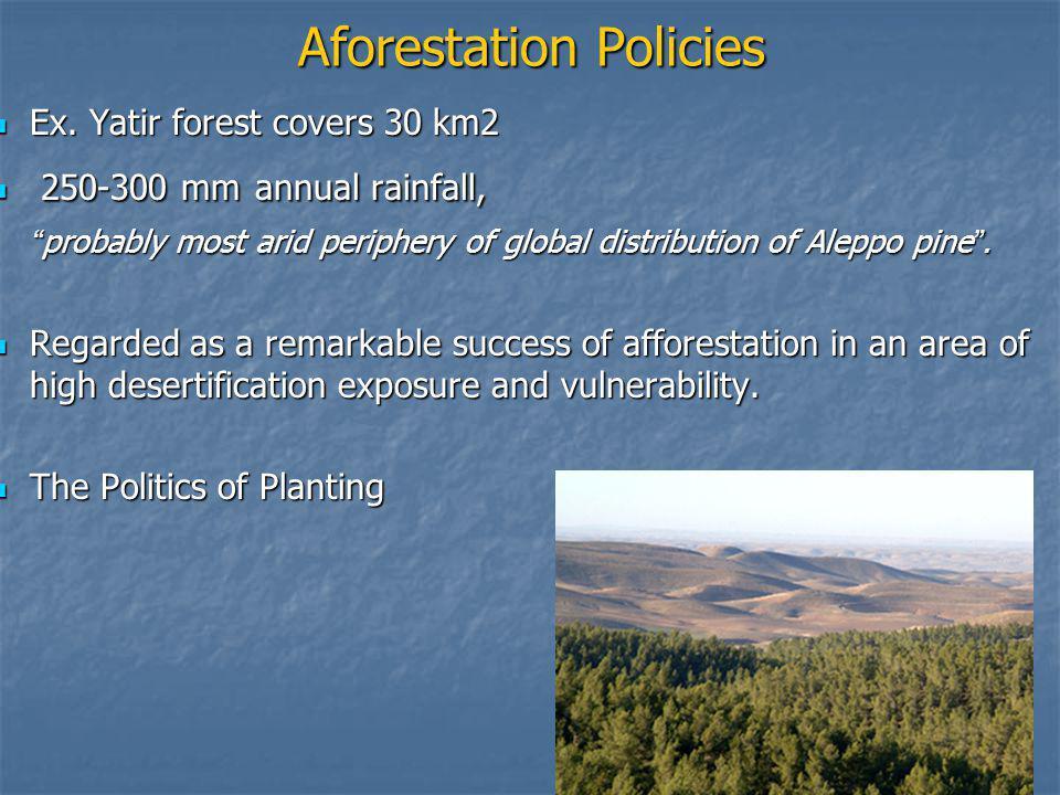 Aforestation Policies Ex.Yatir forest covers 30 km2 Ex.