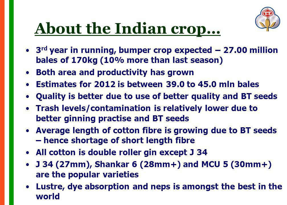 About the Indian crop… 3 rd year in running, bumper crop expected – 27.00 million bales of 170kg (10% more than last season) Both area and productivity has grown Estimates for 2012 is between 39.0 to 45.0 mln bales Quality is better due to use of better quality and BT seeds Trash levels/contamination is relatively lower due to better ginning practise and BT seeds Average length of cotton fibre is growing due to BT seeds – hence shortage of short length fibre All cotton is double roller gin except J 34 J 34 (27mm), Shankar 6 (28mm+) and MCU 5 (30mm+) are the popular varieties Lustre, dye absorption and neps is amongst the best in the world