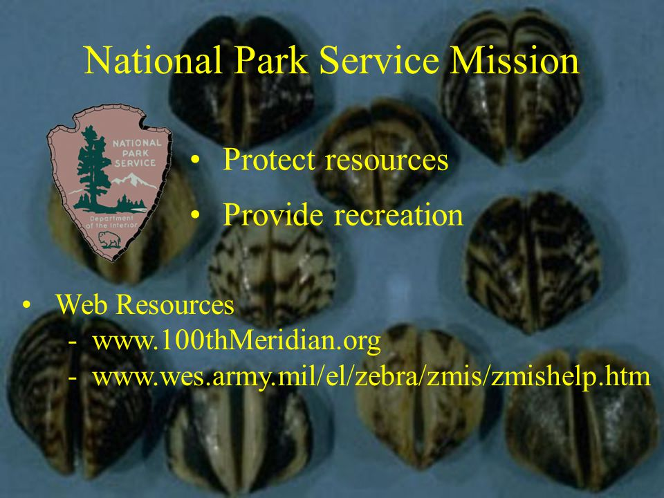 National Park Service Mission Protect resources Provide recreation Web Resources -www.100thMeridian.org -www.wes.army.mil/el/zebra/zmis/zmishelp.htm