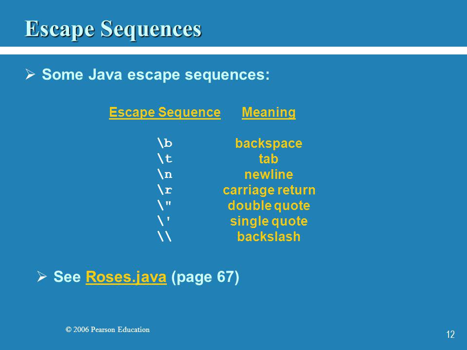 © 2006 Pearson Education 12 Escape Sequences Some Java escape sequences: See Roses.java (page 67)Roses.java Escape Sequence \b \t \n \r \