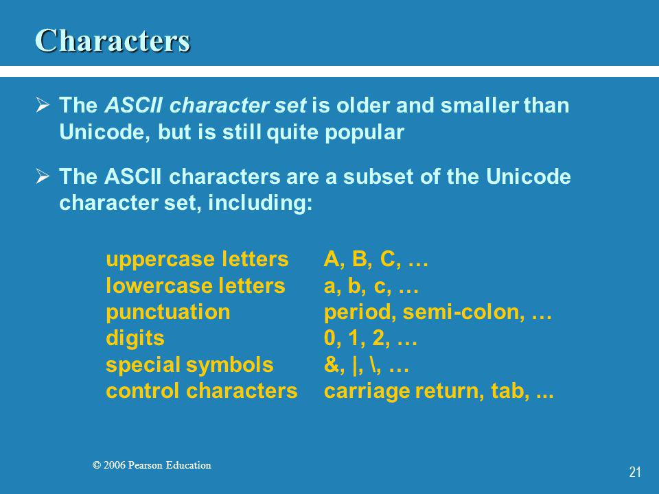 © 2006 Pearson Education 21 Characters The ASCII character set is older and smaller than Unicode, but is still quite popular The ASCII characters are
